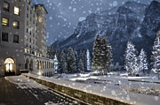 Flurries Posters - Winter Wonderland Chateau Poster by Andrea Hazel Ihlefeld