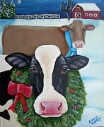 Moo Moo Paintings - Winter Wonderland by Laura Carey