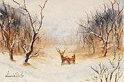 Winter Scene Paintings - Winter Wonderland by Lucia Del