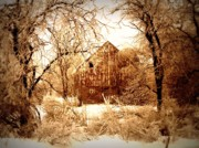 Wooden Building Posters - Winter Wonderland Sepia Poster by Julie Hamilton