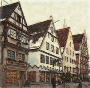 Winterly Old Town Posters - Winterly Old Town Poster by Jutta Maria Pusl