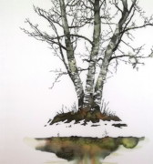Reflections Tapestries - Textiles - Winters Birch by Carolyn Doe