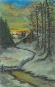 Snow Scene Pastels Framed Prints - Winters Here Framed Print by Shelby Kube