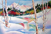 Snow Scene Landscape Framed Prints - Winters Light Framed Print by Deborah Ronglien