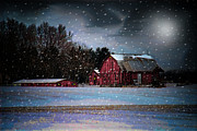 Sheds Digital Art Prints - Winters Night Print by Mary Timman
