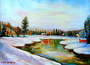 Autumn In The Country Posters - Winterscene Quebec Painting Mirror Lake At Forests Edge Poster by Carole Spandau