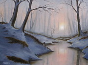 Snowy Trees Paintings - WinterSpring Forest by Jon Venske