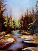 Laurentians Paintings - Winterstream by Carole Spandau