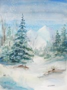 Snowy Trees Paintings - Wintertime by Anita Carden