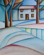 Abstracted Landscape Framed Prints - Wintertime Framed Print by Jutta Maria Pusl