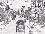 Horse And Buggy Drawings - Wintertown Pennsylvania by Alfred James Dill