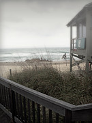 Sea Oats Prints - Wintery Beach Morning Print by Julie Palencia