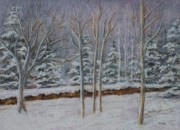 Aspen Trees Pastels Prints - Wintery Day Print by Pat Neely