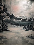 Snowscape Painting Posters - Wintery Mountain Poster by John Koehler