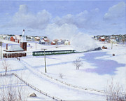 Railroad Snow Paintings - Winthrop Center Station   The Narrow Gauge  1888 by Mark Pimentel