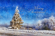 Wintry Posters - Wintry Christmas Tree Greeting Card Poster by Lois Bryan
