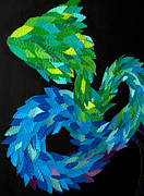 Paper Sculpture Sculpture Posters - WIP - the feathered serpent Poster by Mitza Hurst