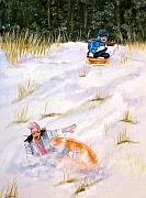 Snow Boarding Prints - Wipe Out Print by Dorothy Riley