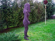 Landscapes Sculptures - Wire  girl by Leslie Komaromi