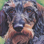 Dachshund Art Paintings - Wire Haired Dachshund by Lee Ann Shepard