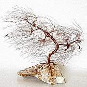 Winter Landscape Sculptures - Wire Tree Sculpture-1262 Wind Swept by Omer Huremovic