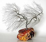 Winter Landscape Sculptures - Wire Tree Sculpture-1263 Wind Swept by Omer Huremovic