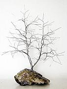 Winter Landscape Sculptures - Wire Tree Sculpture-1266 Aluminum by Omer Huremovic