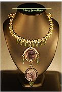 Music Jewelry - Wire Wrapped Abacus Pearls Peridot Chips and Purple Glass Necklace by Janine Antulov