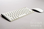 Wireless Posters - Wireless Computer Keyboard And Mouse Poster by Photo Researchers