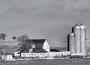 Silos Posters - Wisco Farming Poster by David Bearden