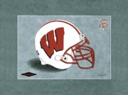 Badgers Prints - Wisconsin Badgers Football Helmet Print by Herb Strobino