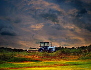 Farmer Mixed Media Prints - Wisconsin Landscape White Tractor Print by Ms Judi
