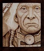 Sepia Pyrography Originals - Wisdom Keeper by Jo Schwartz