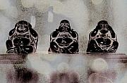 Hear No Evil Framed Prints - Wise Buddhas Framed Print by Tingy Wende