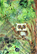 Tree Creature Mixed Media Prints - Wise Old Owl Print by Jennifer Kelly