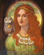 Owl Paintings - Wise Ones- Celtic Owl and Lady by Sue Halstenberg