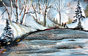 Snowscape Drawings Prints - Wisemen Print by Mindy Newman