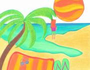 Beach Towel Drawings Prints - Wish You Were Here Print by Geree McDermott