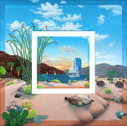 Desert Lake Framed Prints - Wish You were Here Framed Print by Snake Jagger