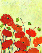 Vivid Orange Paintings - Wishful Blooming by Jennifer Lommers