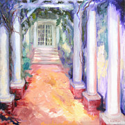 Alizarin Crimson Paintings - Wisteria Arbor at Old Salem by Joan Hogan