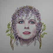 Portrait Tapestries - Textiles Prints - Wisteria Print by Barbara Lugge