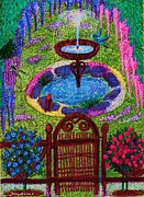 Wisteria Mixed Media Prints - Wisteria Fountain Print by Jenny Elaine