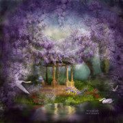 Swan Art Prints - Wisteria Lake Print by Carol Cavalaris