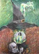Bodyart Drawings Originals - Witch In Action by Brigitte Hintner