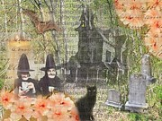 Haunted House Digital Art Originals - Witches At Home by Ruby Cross