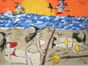 Halloween Paintings - Witches Day At The Beach by Jeffrey Koss