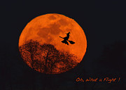 Halloween Card Prints - Witchy Moon Print by William Jobes
