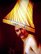 Mustache Prints - With A Lampshade On His Head Print by Michael Durst