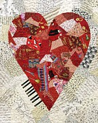 Quilt Tapestries - Textiles Posters - With a Song in My Heart Poster by Loretta Alvarado